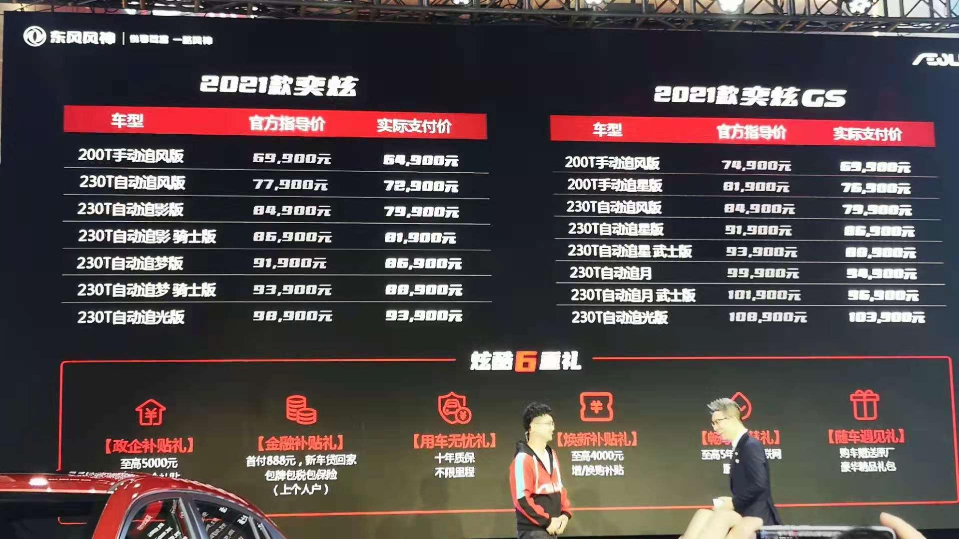 2021款东风风神奕炫GS正式上市 售价区间7.49万—10.89万
